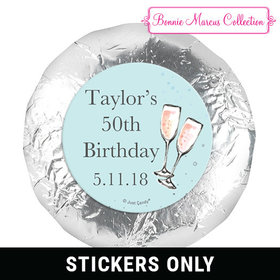 "Personalized 1.25"" Stickers - Birthday Bubbly Party Blue (48 Stickers)"