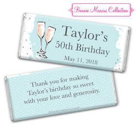 Personalized Bonnie Marcus Chocolate Bar & Wrapper - Birthday Bubbly Party Blue