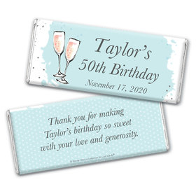 Personalized Bonnie Marcus Chocolate Bar Wrappers Only - Birthday Bubbly Party Blue