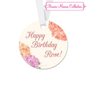 Personalized Blooming Joy Birthday Round Favor Gift Tags (20 Pack)