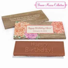 Deluxe Personalized Blooming Joy Birthday Chocolate Bar in Gift Box
