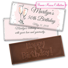 Personalized Bonnie Marcus Embossed Chocolate Bar & Wrapper - Birthday Bubbly Party Pink