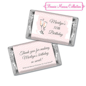 Personalized Hershey's Miniatures - Bonnie Marcus Birthday Pink Birthday Party Bubbly