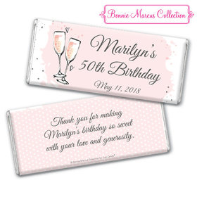 Personalized Bonnie Marcus Chocolate Bar & Wrapper with Gold Foil - Birthday Bubbly Party Pink