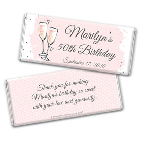 Personalized Bonnie Marcus Chocolate Bar Wrappers Only - Birthday Bubbly Party Pink