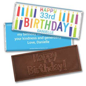 Personalized Bonnie Marcus Birthday Colorful Candles Embossed Chocolate Bar & Wrapper