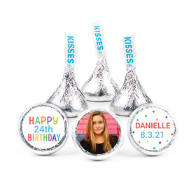 """Personalized Bonnie Marcus Colorful Candles Birthday 3/4"""" Sticker (108 Stickers)"""
