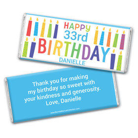 Personalized Bonnie Marcus Birthday Colorful Candles Chocolate Bar Wrappers