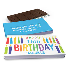 Deluxe Personalized Colorful Candles Birthday Chocolate Bar in Gift Box (3oz Bar)