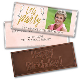 Personalized Bonnie Marcus Embossed Chocolate Bar & Wrapper - Birthday Champagne Party