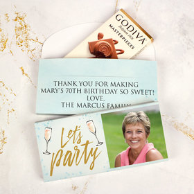 Deluxe Personalized Bonnie Marcus Birthday Champagne Party Godiva Chocolate Bar in Gift Box