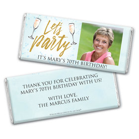 Personalized Bonnie Marcus Chocolate Bar & Wrapper - Birthday Champagne Party