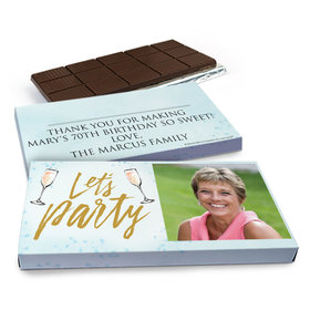 Deluxe Personalized Champagne Party Birthday Chocolate Bar in Gift Box (3oz Bar)