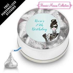 Bonnie Marcus Collection Personalized Small Silver Plastic Tin Vogue Birthday (25 Pack)