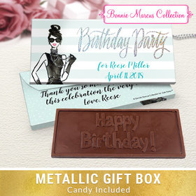 Deluxe Personalized Champagne Bottle Birthday Embossed Chocolate Bar in Metallic Gift Box