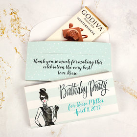 Deluxe Personalized Bonnie Marcus Birthday Vogue Godiva Chocolate Bar in Gift Box