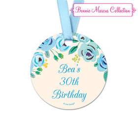 Personalized Blue Flowers Birthday Round Favor Gift Tags (20 Pack)