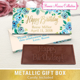 Deluxe Personalized Blue Flowers Birthday Embossed Chocolate Bar in Metallic Gift Box