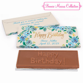 Deluxe Personalized Blue Flowers Birthday Chocolate Bar in Gift Box