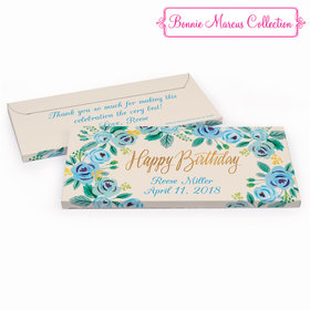 Deluxe Personalized Blue Flowers Birthday Hershey's Chocolate Bar in Gift Box