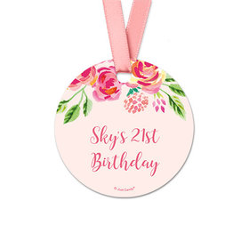 Personalized Pink Flowers Birthday Round Favor Gift Tags (20 Pack)