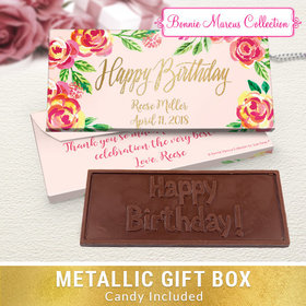 Deluxe Personalized Pink Flowers Birthday Embossed Chocolate Bar in Metallic Gift Box