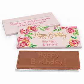 Deluxe Personalized Pink Flowers Birthday Chocolate Bar in Gift Box