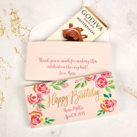 Deluxe Personalized Bonnie Marcus Birthday Pink Flowers Godiva Chocolate Bar in Gift Box