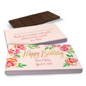 Deluxe Personalized Pink Flowers Chocolate Bar in Gift Box (3oz Bar)