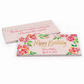 Deluxe Personalized Pink Flowers Birthday Hershey's Chocolate Bar in Gift Box