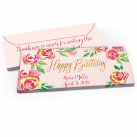 Deluxe Personalized Pink Flowers Birthday Candy Bar Favor Box