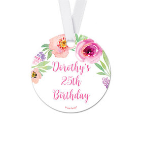 Personalized Floral Embrace Birthday Round Favor Gift Tags (20 Pack)