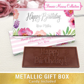 Deluxe Personalized Floral Embrace Birthday Embossed Chocolate Bar in Metallic Gift Box