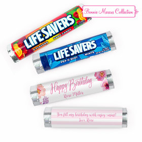 Personalized Floral Embrace Birthday Lifesavers Rolls (20 Rolls)