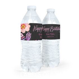 Personalized Birthday Floral Embrace Water Bottle Sticker Labels (5 Labels)