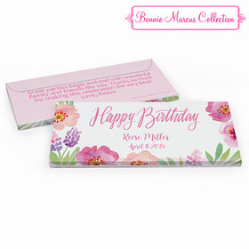 Deluxe Personalized Floral Embrace Adult Birthday Hershey's Chocolate Bar in Gift Box