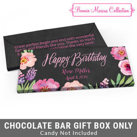 Deluxe Personalized Floral Embrace Adult Birthday Candy Bar Favor Box