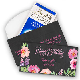 Deluxe Personalized Bonnie Marcus Birthday Floral Embrace Lindt Chocolate Bar in Gift Box (3.5oz)