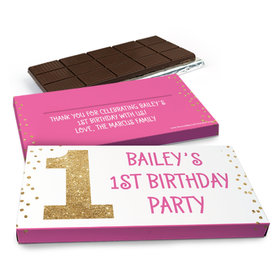 Deluxe Personalized Golden One Birthday Chocolate Bar in Gift Box (3oz Bar)