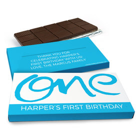 Deluxe Personalized Doodle One Birthday Chocolate Bar in Gift Box (3oz Bar)