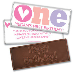 Bonnie Marcus Personalized Adorable One 1st Birthday Embossed Chocolate Bars