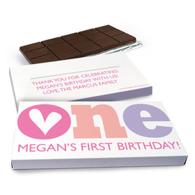 Deluxe Personalized Adorable One Birthday Chocolate Bar in Gift Box (3oz Bar)