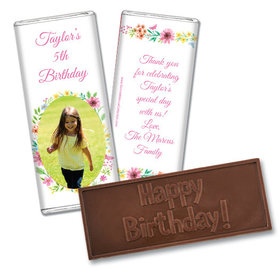 Personalized Bonnie Marcus Birthday Blossom Photo Embossed Chocolate Bar & Wrapper