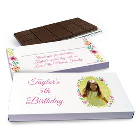 Deluxe Personalized Blossom Photo Birthday Chocolate Bar in Gift Box (3oz Bar)