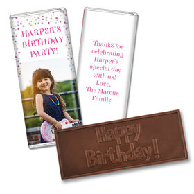 Personalized Bonnie Marcus Birthday Sprinkling Confetti Photo Embossed Chocolate Bar & Wrapper