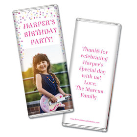 Personalized Bonnie Marcus Birthday Sprinkling Confetti Photo Chocolate Bar & Wrapper