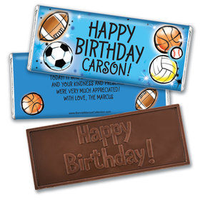 Personalized Bonnie Marcus Birthday Airbrush Athletics Embossed Chocolate Bar & Wrapper