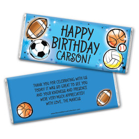Personalized Bonnie Marcus Birthday Airbrush Athletics Chocolate Bar Wrappers