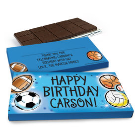 Deluxe Personalized Airbrush Athletics Birthday Chocolate Bar in Gift Box (3oz Bar)