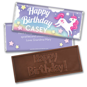 Personalized Bonnie Marcus Birthday Unicorn Dreams Embossed Chocolate Bar & Wrapper